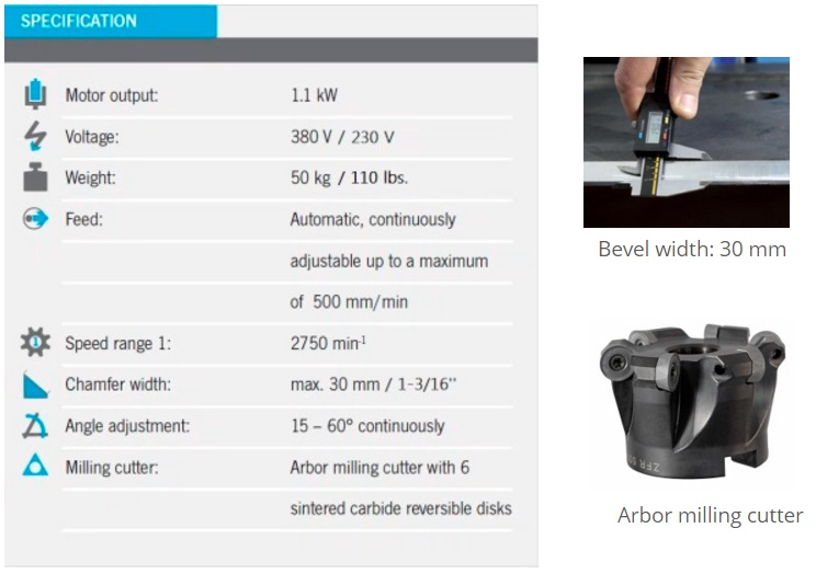 beveling machine specifications
